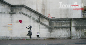 _Girl and heart ballon_ - Banksy